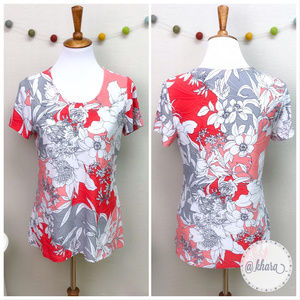 Croft & Barrow Red/Coral/Gray Floral Blouse